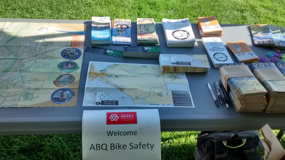bike safety table at UNM